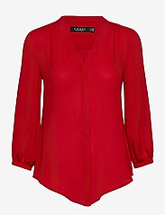 Lauren Ralph Lauren - Pleated Georgette Top - blouses à manches longues - lipstick red - 1