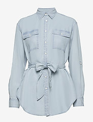 Lauren Ralph Lauren - Belted Shirt - denimskjorter - pale blue wash - 0