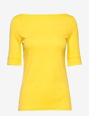 Lauren Ralph Lauren - Cotton-Blend Boatneck Top - t-shirts - hampton yellow - 0