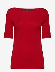 Lauren Ralph Lauren - Cotton-Blend Boatneck Top - t-shirts - orient red - 1