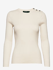 Lauren Ralph Lauren - Ribbed Cotton-Blend Sweater - gensere - mascarpone cream - 0