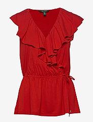 Lauren Ralph Lauren - Ruffle-Trim Jersey Top - Ærmeløse bluser - orient red - 1