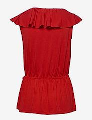 Lauren Ralph Lauren - Ruffle-Trim Jersey Top - Ærmeløse bluser - orient red - 2