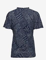 Lauren Ralph Lauren - Print Linen-Blend Tie-Neck Top - kortermede bluser - dk blue multi - 2