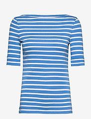 Lauren Ralph Lauren - Striped Cotton-Blend Boatneck Top - t-shirts - captain blue/whit - 1