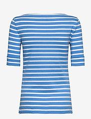 Lauren Ralph Lauren - Striped Cotton-Blend Boatneck Top - t-shirts - captain blue/whit - 2
