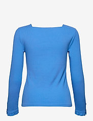 Lauren Ralph Lauren - Ruffle-Trim Stretch Cotton Top - langærmede toppe - captain blue - 2