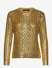 Lauren Ralph Lauren - Foiled Cable-Knit Sweater - trøjer - shiny gold - 1