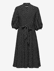 Lauren Ralph Lauren - Polka-Dot Bishop-Sleeve Crepe Dress - hverdagskjoler - polo black/white - 1