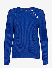 Lauren Ralph Lauren - Button-Trim Cotton Sweater - pulls - pacific royal - 1