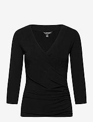 Lauren Ralph Lauren - Wrap-Style Jersey Top - langærmede bluser - polo black - 1