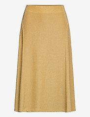 Lauren Ralph Lauren - Metallic Double-Knit Jacquard Skirt - jupes midi - gold metal - 1