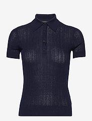 Lauren Ralph Lauren - Rib-Knit Collared Shirt - poloskjorter - french navy - 1
