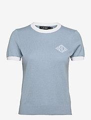 Lauren Ralph Lauren - Intarsia-Knit Cotton-Modal Sweater - strikkede toppe - dust blue/white - 0