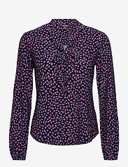 Lauren Ralph Lauren - Floral Jersey Tie-Neck Top - blouses à manches longues - french navy multi - 1