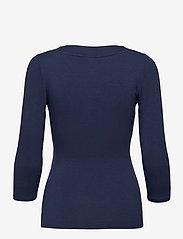 Lauren Ralph Lauren - Wrap-Style Jersey Top - langærmede toppe - french navy - 2