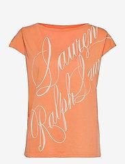 Lauren Ralph Lauren - Logo Boatneck Tee - t-shirts - shell coral - 0