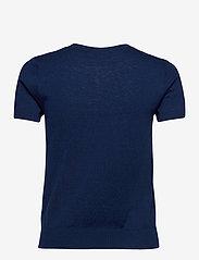 Lauren Ralph Lauren - Cotton-Modal Short-Sleeve Sweater - strikkede toppe - french navy - 1