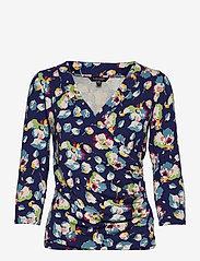 Lauren Ralph Lauren - Wrap-Style Jersey Top - langærmede bluser - royal navy multi - 0