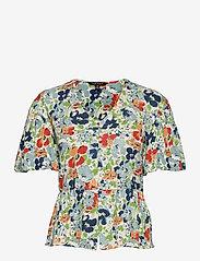 Lauren Ralph Lauren - Floral Linen Jersey Peplum Top - kortærmede bluser - cream multi - 0