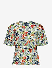 Lauren Ralph Lauren - Floral Linen Jersey Peplum Top - kortærmede bluser - cream multi - 1