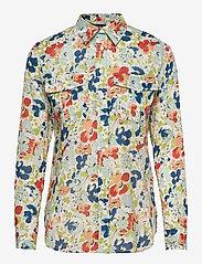 Lauren Ralph Lauren - Floral Cotton Voile Shirt - langærmede skjorter - cream multi - 0