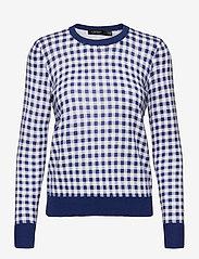 Lauren Ralph Lauren - Gingham Cotton-Modal Sweater - trøjer - soft sapphire/ wh - 0