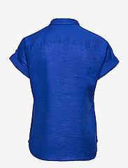 Lauren Ralph Lauren - Tie-Front Linen Shirt - kortærmede skjorter - sapphire star - 1