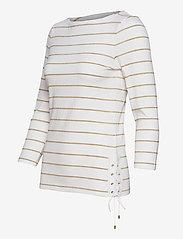Lauren Ralph Lauren - Metallic Striped Cotton Boatneck Top - hauts à manches longues - white/gold metal - 3