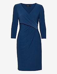 Wrap-Front Jersey Dress - DARK CERULEAN