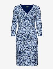Lauren Ralph Lauren - Print Surplice Jersey Dress - stramme kjoler - regal sapphire/co - 0