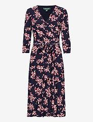 Lauren Ralph Lauren - Floral Jersey Surplice Dress - midi kjoler - lh navy/orient re - 1