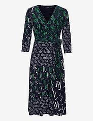 Lauren Ralph Lauren - Logo-Print Jersey Surplice Dress - hverdagskjoler - lh navy/stem/colo - 1