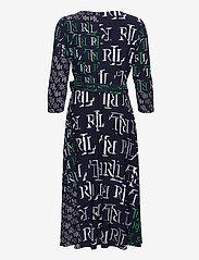 Lauren Ralph Lauren - Logo-Print Jersey Surplice Dress - hverdagskjoler - lh navy/stem/colo - 2