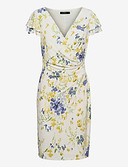 Lauren Ralph Lauren - Floral Jersey Surplice Dress - sommerkjoler - col cream/yellow/ - 0