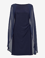 Lauren Ralph Lauren - Georgette-Cape Cocktail Dress - sukienki do kolan i midi - lighthouse navy - 0