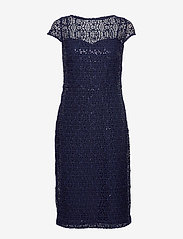Lauren Ralph Lauren - Sequined Lace Cap-Sleeve Dress - sukienki do kolan i midi - lighthouse navy - 0