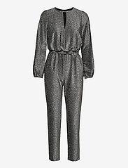 Lauren Ralph Lauren - Metallic Long-Sleeve Jumpsuit - buksedragter - black/silver - 0