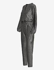 Lauren Ralph Lauren - Metallic Long-Sleeve Jumpsuit - buksedragter - black/silver - 2