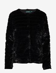 Lauren Ralph Lauren - Faux-Fur Chubby Coat - sztuczne futro - black w/ thin sta - 0