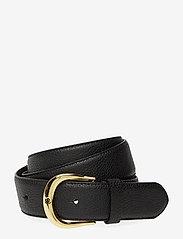Lauren Ralph Lauren - Pebbled Leather Belt - bælter - black - 0