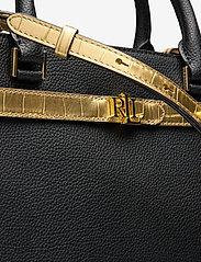 Lauren Ralph Lauren - Leather Medium Fenwick Satchel - handväskor - black/antique gol - 3