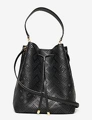 Lauren Ralph Lauren - Perforated Leather Debby Drawstring Bag - bucket bags - black - 0