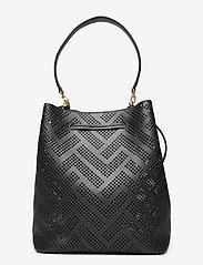 Lauren Ralph Lauren - Perforated Leather Debby Drawstring Bag - bucket bags - black - 1