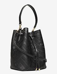 Lauren Ralph Lauren - Perforated Leather Debby Drawstring Bag - bucket bags - black - 2