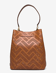 Lauren Ralph Lauren - Perforated Leather Debby Drawstring Bag - bucket bags - lauren tan - 1