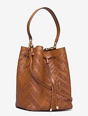 Lauren Ralph Lauren - Perforated Leather Debby Drawstring Bag - bucket bags - lauren tan - 2