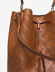 Lauren Ralph Lauren - Perforated Leather Debby Drawstring Bag - bucket bags - lauren tan - 3
