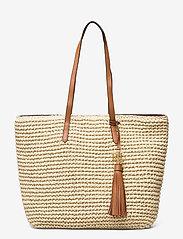 Lauren Ralph Lauren - Crochet-Straw Medium Whitney Tote - shoppere - natural/lauren ta - 0
