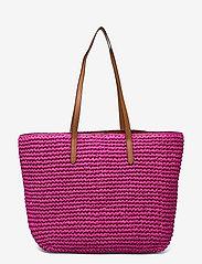 Lauren Ralph Lauren - Crochet-Straw Medium Whitney Tote - shoppere - nouveau bright pi - 1